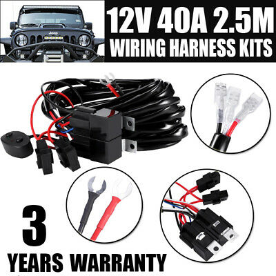 Wiring Loom Harness Kit Relay Switch Fuse For HID LED Work Driving Light Bar 12V