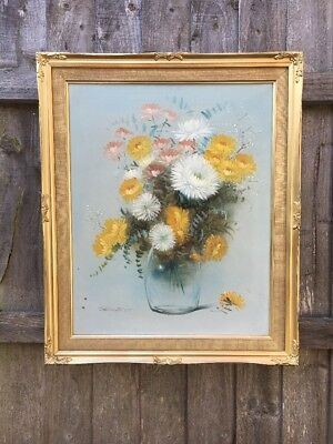 Large Antique Vintage Oil Painting Of Flowers In Gold Gilt Frame, Signed