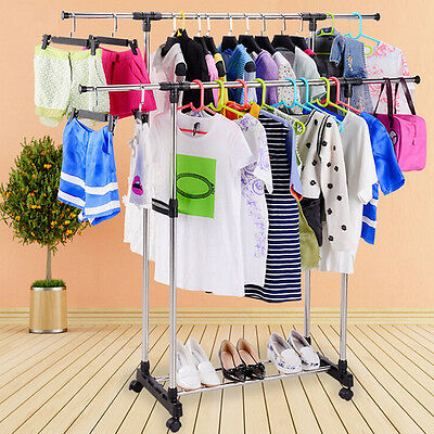 Heavy Duty Double Stainless Steel Clothes Garment Rack Hanger Organizer Portable