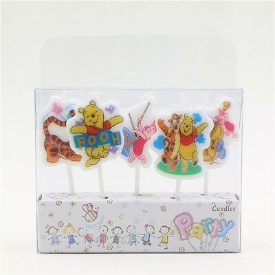 5 x Winnie The Pooh Happy Birthday Cake Candles Party