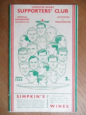 LEICESTER v MANCHESTER Rugby Union programme 1934-1935