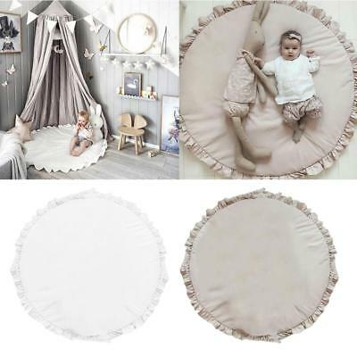 Solid Color Round Cotton Baby Infant Kids Play Mat Crawling Pad Carpet Dia.100cm