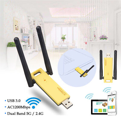 1200Mbps 2.4GHz/5.8GHz Dual Band 802.11ac USB 3.0 wireless WIFI Adapter Antenna