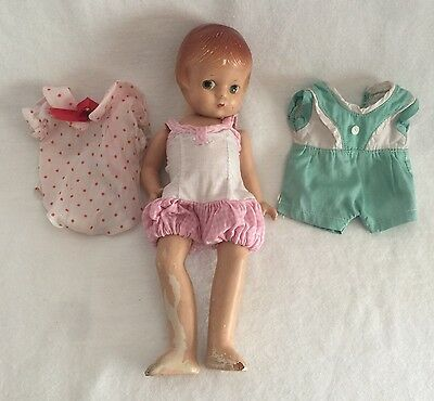 """Vintage EFFANBEE Patsyette Doll 9"""" w/ Outfits Clothing"""