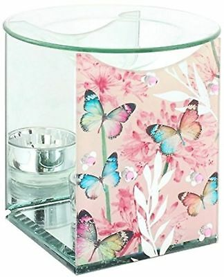 Glass Oil Burner Warmer Wax Melt Tart Fragrance Mirror Butterfly Blossom Colour
