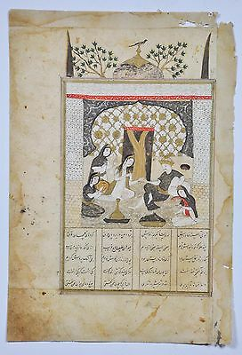 Antique Safavid Shahnameh Islamic Persian Miniature Painting Manuscript 1600 Ad