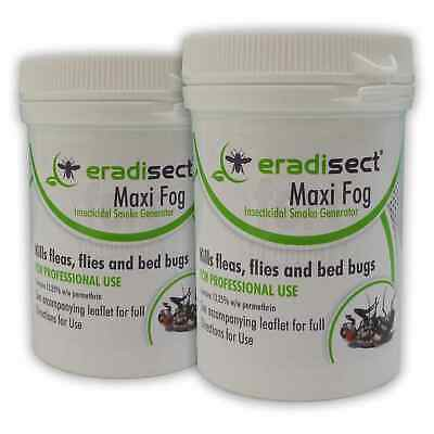 2 x ERADISECT MAXI INSECT FOG SMOKE GENERATOR BOMB - KILL FLEAS FLIES BEDBUGS