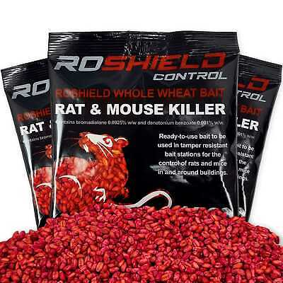Roshield Rodent Poison - Whole Wheat Rat Mouse Killer Bait - Various Pack Sizes