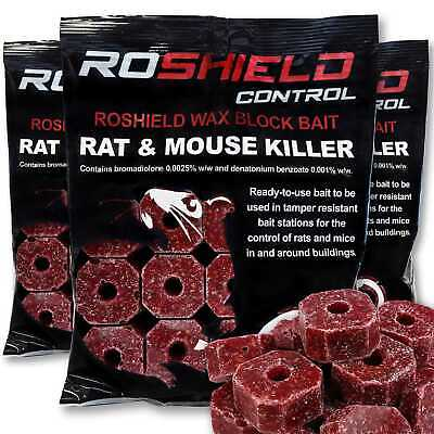 45 x 20g Poison Block Bait Rodent Mice Mouse Rat Control Killer (3 x 300g Packs)