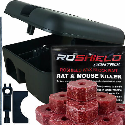 Roshield Rat Mouse Mice Killer Poison Blocks & Rodent Bait Station Box Pest Trap