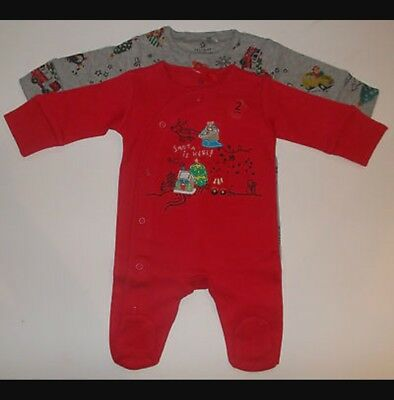 Next Baby Boys Christmas Babygrows Sleepsuits 0-3 Months