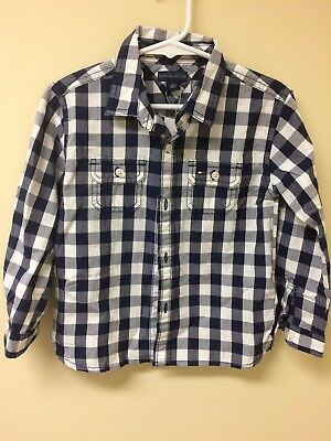 NWT Toddler Boy Tommy Hilfiger Blue and White Check Long Sleeve Shirt Size 3T