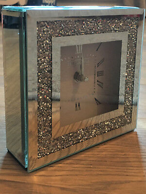 Diamond Crush Crystal Bevelled Mirror Glass Square Freestanding Clock 15cmSilver