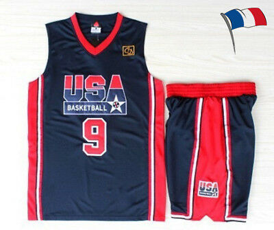 Michael Jordan # 9 1992 USA Basketball Jersey Dream Team olympique noir bleu mar