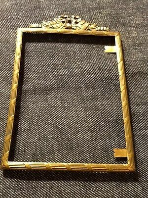 """Vintage Picture Frame Germany Ornate Ribbon Leaves Fluted Metal Type 4.5"""" x 3.5"""""""