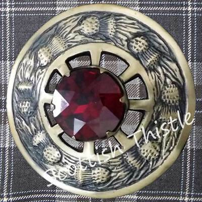 "Scottish Kilt Fly Plaid Brooch Red Stone Antique Finish 3""/Ladies Shawl Brooches"