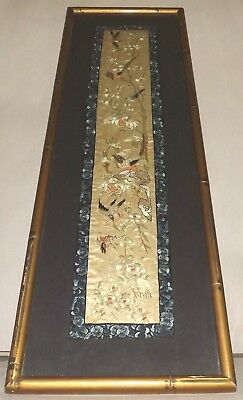 Antique Chinese Silk Embroidery Birds framed w/glass