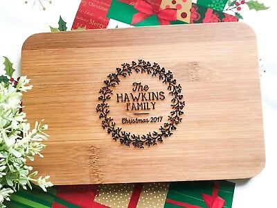 Personalized Engraved Gift Christmas Wreath Mini Bamboo Serving / Chopping Board