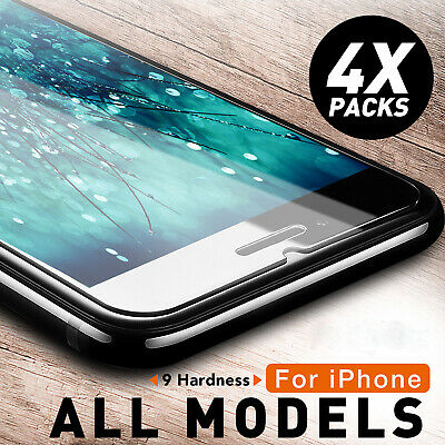 1/4 Pack 9H Tempered Glass Screen Protector For iPhone 8 Plus X XS XR 11 Pro Max