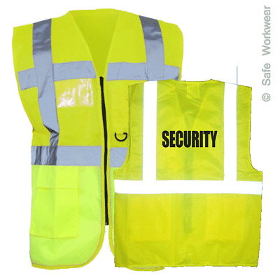 SECURITY - EXECUTIVE Hi Vis Vest Safety Waistcoat with Multi pocket