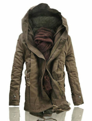 New Winter Mens Military Trench Coat Ski Jacket Hooded Parka Thick Cotton Brown
