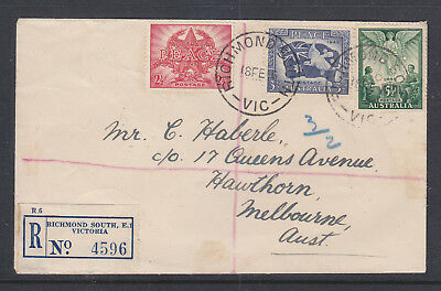 Fdc:  1946 Registered Peace Set Cancelled Richmond.