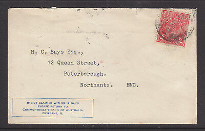 """1933 2d RED  KGV ON ADVERT COVER  """"COMMONWEALTH BANK"""" TO ENGLAND"""