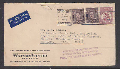 """1946 Advert Cover """"watson Victor Limited"""" To Chicago Usa"""