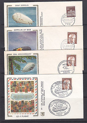 GERMANY 1974-5 GRAF ZEPPELIN  SILK COVERS X 8  ALL DIFFERENT CACHETs