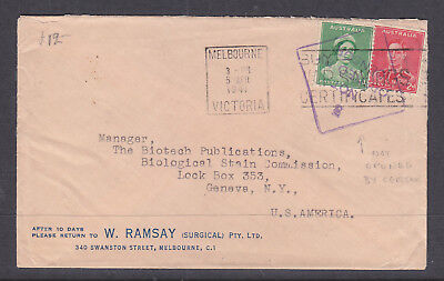 """1941 Advert Cover """"w. Ramsay""""  With Violet Not Opened By Censor Cancel To Ny Usa"""