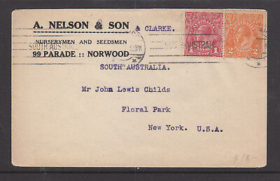 """1921? 1d RED & 2d ORANGE KGV ON ADVERT COVER  """"A. NELSON & SON"""" TO NEW YORK USA"""