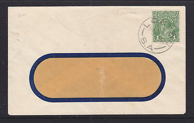 """1928  1d GREEN   KGV  ON WINDOW FACE COVER WITH GREAT """"LOXTON"""" STRIKE."""