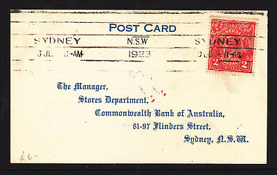 1923  2d RED KGV ON ACKNOWLEDGEMENT OF ORDER POSTCARD FROM COMM BANK..