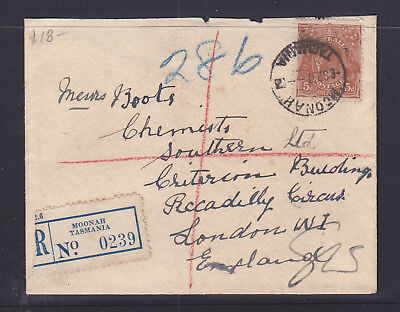 1937  5d BROWN  KGV ON REGISTED  COVER TO ENGLAND