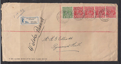 1932 2d RED KGVs X 4 &1d GREEN ON LARGE FORMAT REGISTERED COVER TO PYRAMID HILL