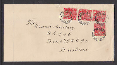 1931 2d RED  KGVs X 4 ON LARGE FORMAT COVER TO BRISBANE WITH 4 GREAT ROSEWOOD