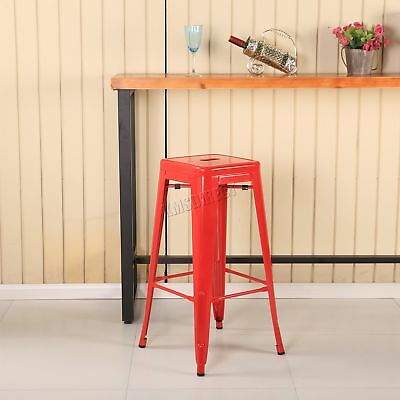 FoxHunter 2 Metal Tolix Vintage Retro Bistro Bar Dining Stool Chair MDS01 Red