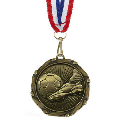 """Football and Goal Medals with Ribbons - Engraved FREE your message - Free P+P"""