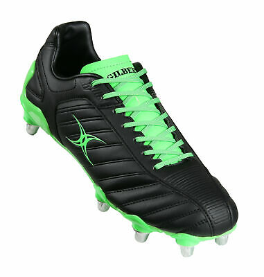 Gilbert Evo Mk 2 Adults Black/Fluro Green LCST 8 Stud Rugby Boots