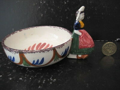 Very Rare Vintage Hb Quimper France Faience Bowl With Figural Breton Lady Handle