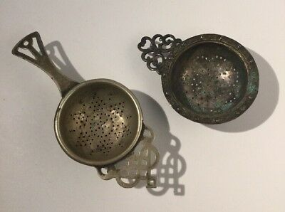 Lot Of Two Antique Silver Plate Tea Strainers - EPNS