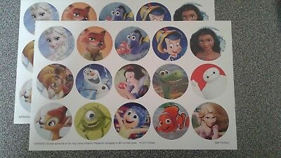 Two Sheets of Disney Characters Stickers Moana Elsa Olaf Dory Baymax Pinocchio