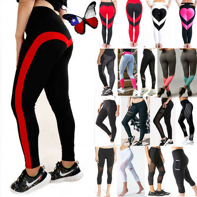 US Women's Sports YOGA Workout Gym Fitness Leggings Stretchy Mesh Pants Athletic
