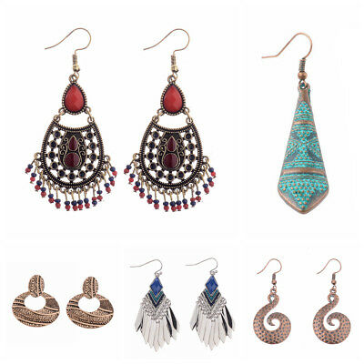 Vintage Ethnic Geometric Charm Stud Exquisite Women's Fashion Jewelry Earrings