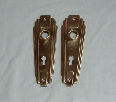 Vintage Antique Brass Skeleton Key Door Plates Art Deco