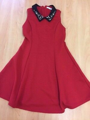 Girls Red M&S Christmas / Party Dress Age 7-8