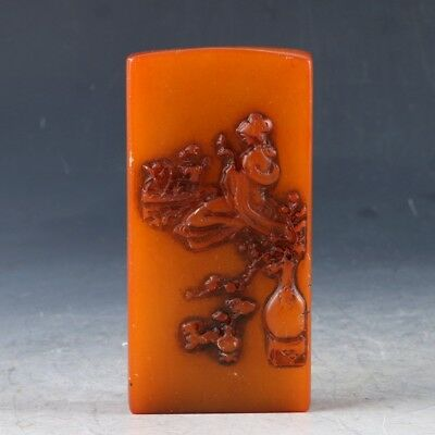 Chinese Shoushan Stone Handwork Carved Beauty Pattern Seal PJ719