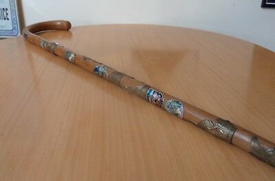 Vintage Kandersteg Alpine Walking/hiking Stick-18 Austrian/swiss Metal Badges