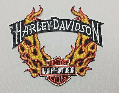 Harley-Davidson Fire Flaming Emblem Sew Iron-On Embroidered Applique Patch Badge