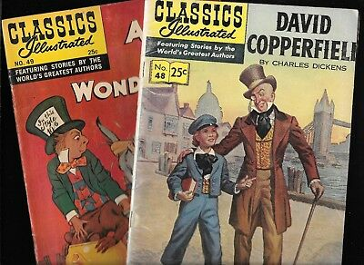 Classics Illustrated Lot #48 49 D Copperfield, Alice in Wonderland HRN 166 VG/FN
